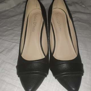 Mario d boro office black shoes 2inches heels
