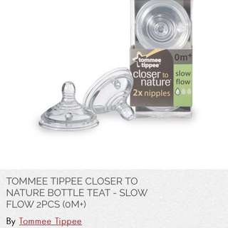 TOMMEE TIPPEE CLOSER TO NATURE BOTTLE TEAT - SLOW FLOW 4PCS (0M+) for $10