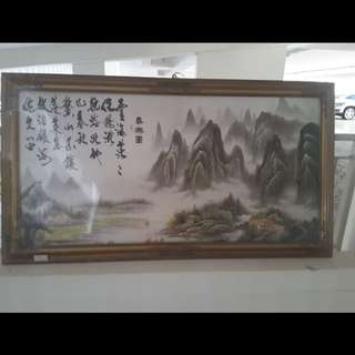 Vintage mountain painting