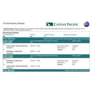 Cathay Pacific (One Way or Round Trip Tickets) - Good for Oversea Students! Peak Period inclusive!