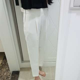 zara高腰腰扣設計白色西裝褲寬褲s號