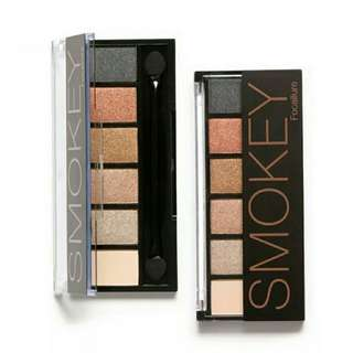 Authentic Focallure 6 Color Glamorous Smokey Eyes Eyeshadow Palette #06