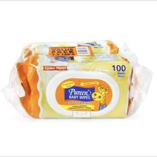 March Special Promotion - Pureen Baby Wipes Fragrance Free (Orange) 2x100's