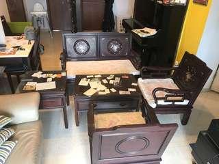 Vintage rosewood sofa set