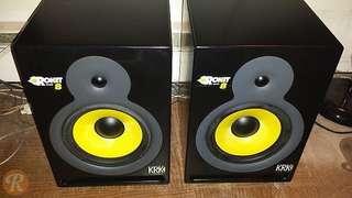 Pair of KRK Rokit 8 studio monitors with speaker stands