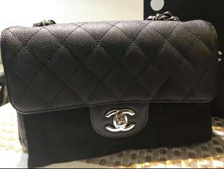 Chanel rectangular mini ( black caviar leather in silver hardware