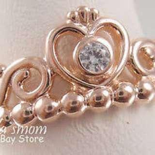Rose gold princess ring size 52