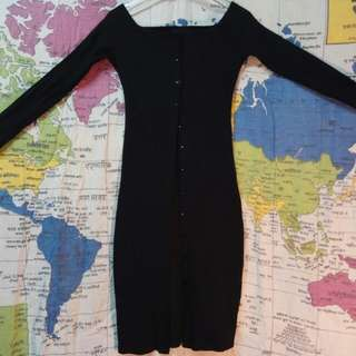 排扣式針織洋裝外套