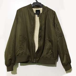 Forever 21 Army Green Bomber Jacket M
