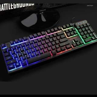 Rainbow Backlit Black with Character Glow Mechanical Gaming Keyboard