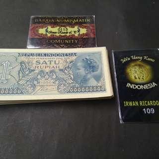 Uang lama / Uang jadul 1 rupiah kertas