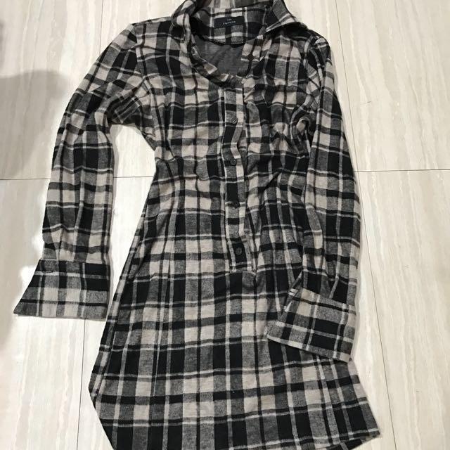 $200正韓全新格紋長版合身洋裝