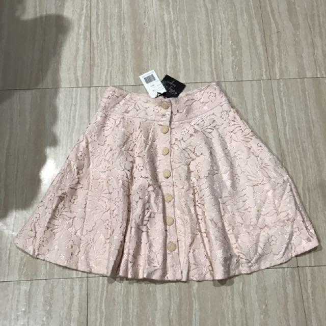 $200全新蕾絲高腰小圓裙粉色