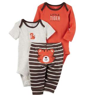 BNIB Carters 6m/9m/12m/18m Bodysuits and pant 3pcs set TIGER
