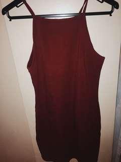 Halter maroon plain fitted basic dress