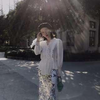 ioz 波蘭小眾 浪漫唯美蕾絲花瓣雪紡襯衫