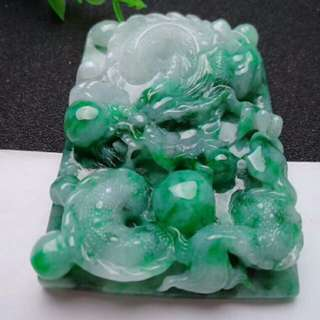 🍍Big!! Grade A Spicy Green Auspicious Dragon 招财祥龙 Jadeite Jade Pendant/Display🍍