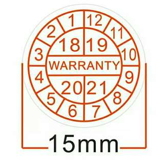Warranty sealing label sticker void if damaged, with years and months, Diameter for 15 mm 2018, 2019, 2021, 2022 jan to dec