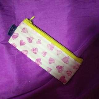 Pink hearts pencil case