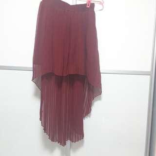 Wine red train asymmetrical chiffon skirt