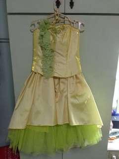 For Rent/Sale! Yellow 2-pc Asymmetrical Gown by Jojo Manalo