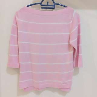 Knitted Stripes Long Sleeve Pink Top