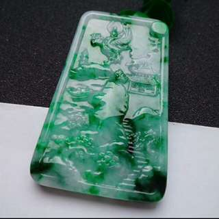 🎍Grade A Spicy Green Scenery 山水画 Jadeite Jade Pendant/Display 🎍