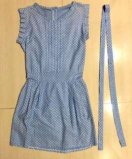 Light Blue Polka Dot Dress with pockets