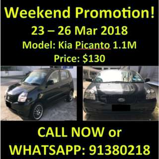 $130 Kia Picanto 1.1M Weekend March Sale