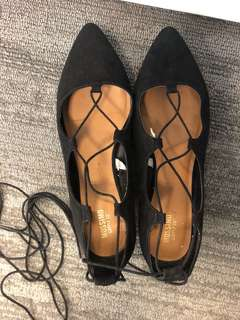 New suede flat lace up shoes!