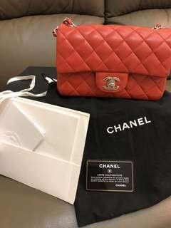 Chanel classic mini lamb skin 20cm