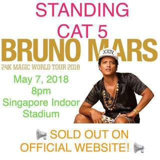 Bruno Mars in Singapore May 7, 2018 priority entry
