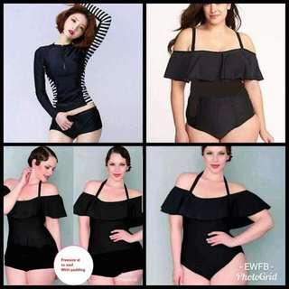 AVAILABLE PLUS SIZE SWIMWEAR 🌸P370 🌸With padding 🍒Off shoulder boyleg (xl to xxl) 🍒Off shoulder bikini (xl to xxl) 🍒Rashguard terno (xl to xxl) 🍒Ruffle one piece (3xl to 4xl)
