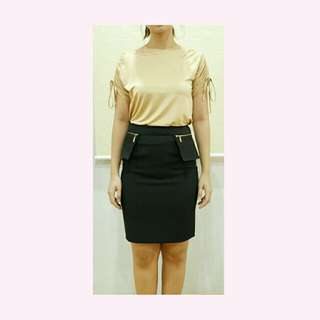 Black Pencil Skirt with pockets