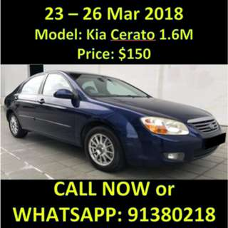 Kia Cerato 1.6M March Weekend Rental Sale