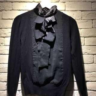 二手~微秋經典氣質OL顯瘦立領立體緞帶雪紡針織上衣