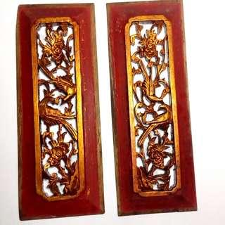 🚚 櫥櫃木雕雕花(一對,25*9*1.5公分)