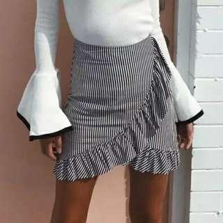 Pamela gingham ruffle pencil skirt