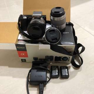 Sony NEX-5 full bundle with Sony SEL50F18 E 50mm f/1.8 - f/22 OIS Portrait Lens (two batteries are included)