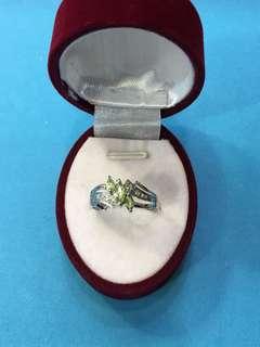 No:0153.  925純銀鑲天然橄欖石介子內圈17.3mm