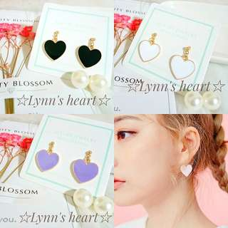 日系可愛現貨💟愛麗絲愛心耳環