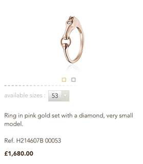 💜Hermes 有型玫瑰金戒指