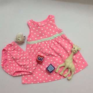 Pink Polkadot Dress with Diaper Cover