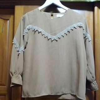 韓版雪紡7分袖上衣
