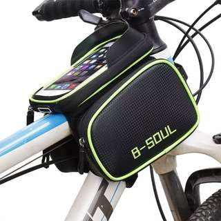 Bicycle Waterproof Tube Saddle Bag Frame Bag Pannier Cycling Tube Pouch with Removable Touchscreen 5.8''6.2'' Phone Holder Case