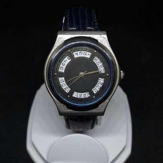 舊 香港機芯 藍色內圈 日曆石英錶
