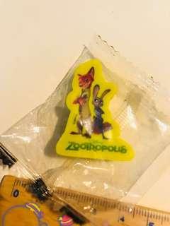 罕有!迪士尼zootropopis阿力及茱莉擦膠(未開封)