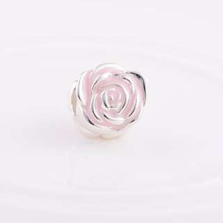 Code MS80 - Pink Rose Bead 100% 925 Sterling Silver Charm, Chain Is Not Included, Compatible With Pandora
