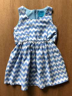 Fleurette Enfant Blue Zigzag Dress