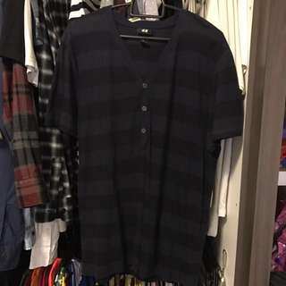H&M Wide-Striped Button-Up V-Neck Tee in Navy and Black